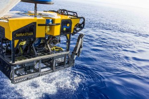 ROV SuBastian, a new eco-friendly 3,100 kg (6,500 pound) deep-sea research platform for the Schmidt Ocean Institute's R/V Falkor, equipped with ultra high-resolution 4K cameras, mechanical arms that move seven ways and can sample to depths of 4,500 meters (2.8 miles), with a lighting system equivalent to the lamps of 150 car high-beams. Credit: Schmidt Ocean Institute